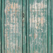 Stock Photo: Texture for a worn green painted wooden garage door