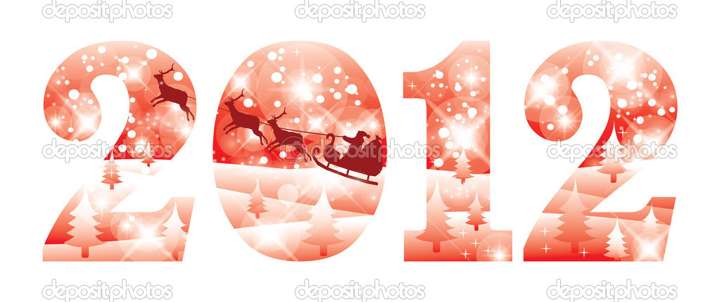 2012 new year red banner, vector illustration — Stock Vector #6861230