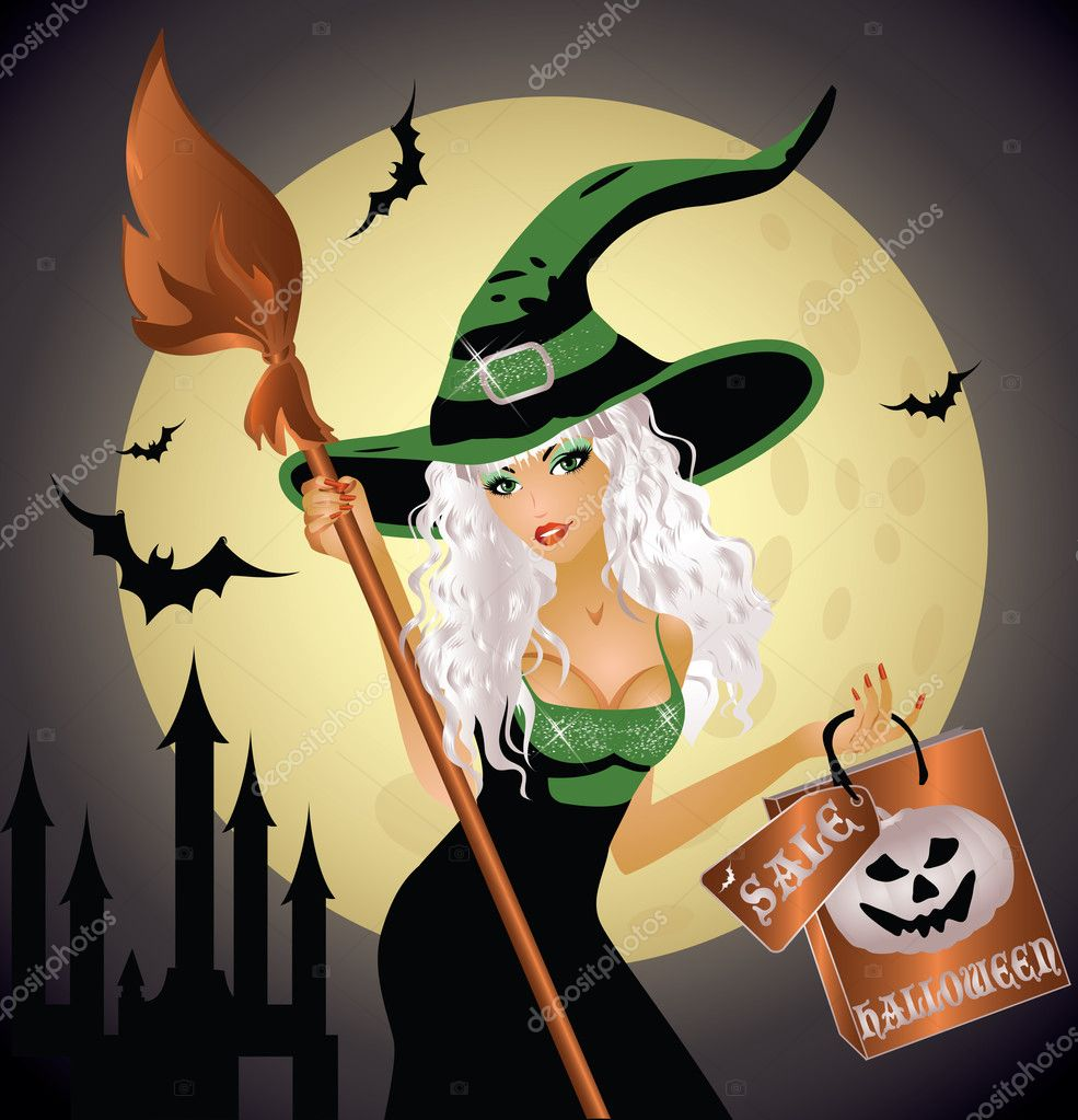 Halloween shopping witch, vector illustration — Stock Vector #6919020