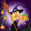 Halloween sexy witch with pumpkin, vector illustration - Stok Vektr