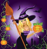 Sexy heks halloween met pompoen, vectorillustratie — Stockvector