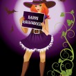 Girl witch with banner in halloween style. vector — Stock Vector