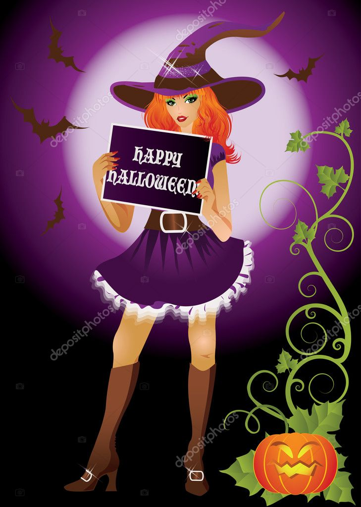 Girl witch with banner in halloween style. vector illustration — Stock Vector #6940363