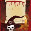 Old Scroll with candle and skull, vector illustration - Stock Vector