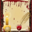 Old scroll and Pen writes in blood, vector illustrati - Vettoriali Stock