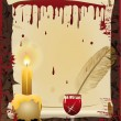 Old scroll and Pen writes in blood, vector illustrati - Векторная иллюстрация