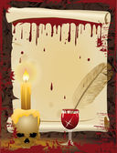 Old scroll and Pen writes in blood, vector illustrati — Vettoriale Stock