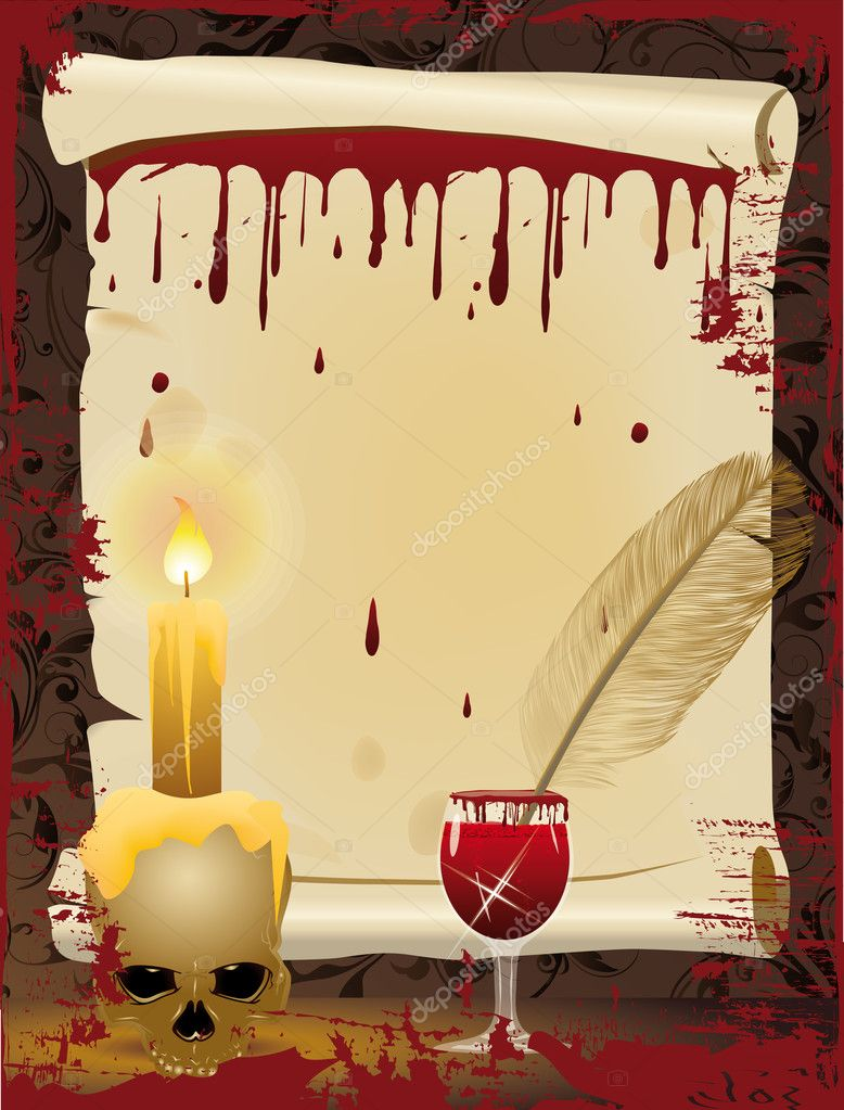 Halloween background. Old scroll and Pen writes in blood, vector illustration — Stock Vector #6962012
