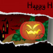 Halloween banner with pumpkin, vector illustration - Imagens vectoriais em stock