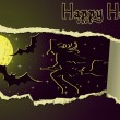 Halloween banner with girl witch, vector illustration - Imagen vectorial