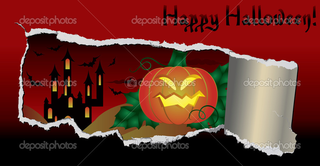 Halloween banner with pumpkin, vector illustration — Stock Vector #6980872