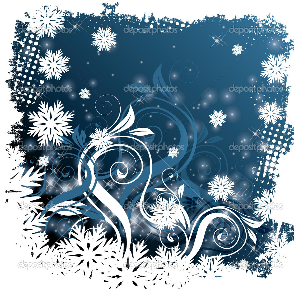 Winter blue card with snowflakes. Vector illustration  Stock Vector #7025322