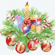 New Year's card with toys and candle, vector illustration - 图库矢量图片