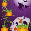 Halloween poker banner, vector illustration — Stock Vector