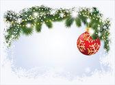 Tarjeta de navidad con bola roja, ilustración vectorial — Vector de stock