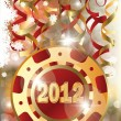 New 2012 Year poker chip — Stock Vector