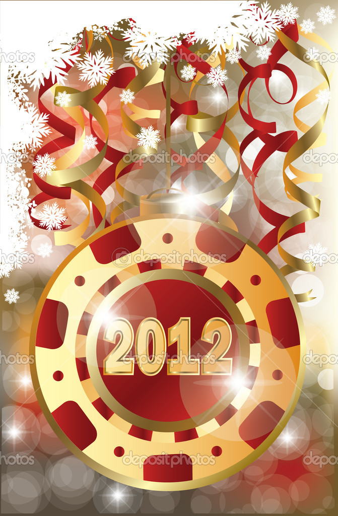 New 2012 Year poker chip  — Stock Vector #7435923