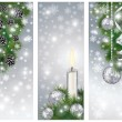 Stock Vector: Set silver winter banners with xmas balls and candle, vector