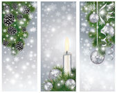 Set silver winter banners with xmas balls and candle, vector — Stock Vector