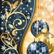 Stock Vector: Golden blue christmas banner, vector illustration