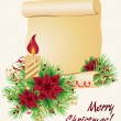 Christmas background with candle and scroll - Stock Vector