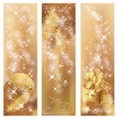Winter golden banners — Vector de stock