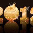 2012 golden new year banner, vector illustration — Vettoriali Stock