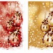 Two Christmas banners with balls, vector illustration - Stock Vector