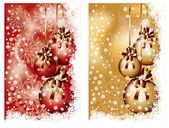 Two Christmas banners with balls, vector illustration — Stock Vector
