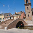 Carmine bridge. Comacchio. Emilia-Romagna. Italy. — Stock Photo
