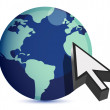 3d illustration of earth and mouse cursor, internet concept — Stock Photo #7107062