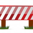 Wooden barrier protecting road works — Stock Photo #7107097