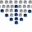 Blue arrow made of 3d cubes - leader concept — Stock Photo