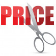 Price cutting scissors illustration design over white — Stock Photo