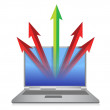Laptop with arrows coming out of cyberspace - Stockfoto