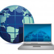 Abstract 3d illustration of laptop computer with earth globe - Stock Photo