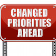 Realistic metallic reflective 'changed priorities ahead' sign — Stock Photo