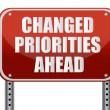 Stock Photo: Realistic metallic reflective 'changed priorities ahead' sign