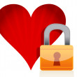 Red heart with lock over white background — Stock Photo