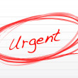 Urgent circled in red ink on white paper. — Stock Photo #7107982