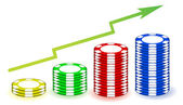 Poker chips profits graph illustration — Stock Photo