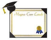 Magna Cum Laude College Diploma with cap and tassel — Zdjęcie stockowe
