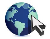 3d illustration of earth and mouse cursor, internet concept — Stock Photo