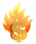 Dollar sign illustration burning over a white background — Stock Photo