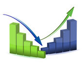 Business graph, chart, diagram, bar, up, down — Stock Photo