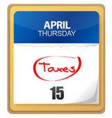 大税一天,15 号是白色的日历上盘旋 — 图库照片
