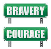 Bravery & Courage road sign isolated on white. — Foto Stock