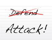 Přeškrtávání bránit a zaútočit na psaní. — Stock fotografie