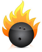Bowling ball on fire illustration — Stock Photo