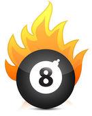 Bola de billar ocho en fuego — Foto de Stock